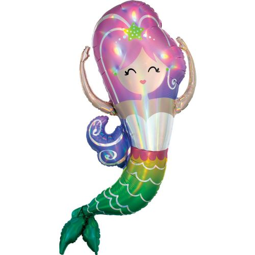 "Mermaid Iridescent SuperShape XL Foil Balloons 32""/81cm w x 41""/104cm h P40"